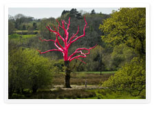 Henry Bruce pink painted tree